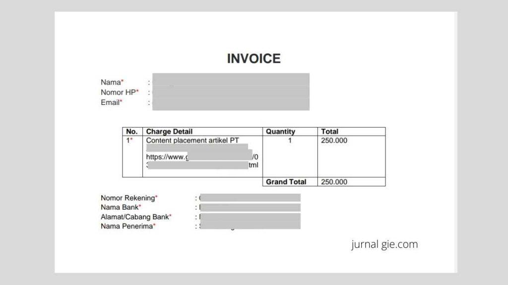 Contoh Invoice Content Placement